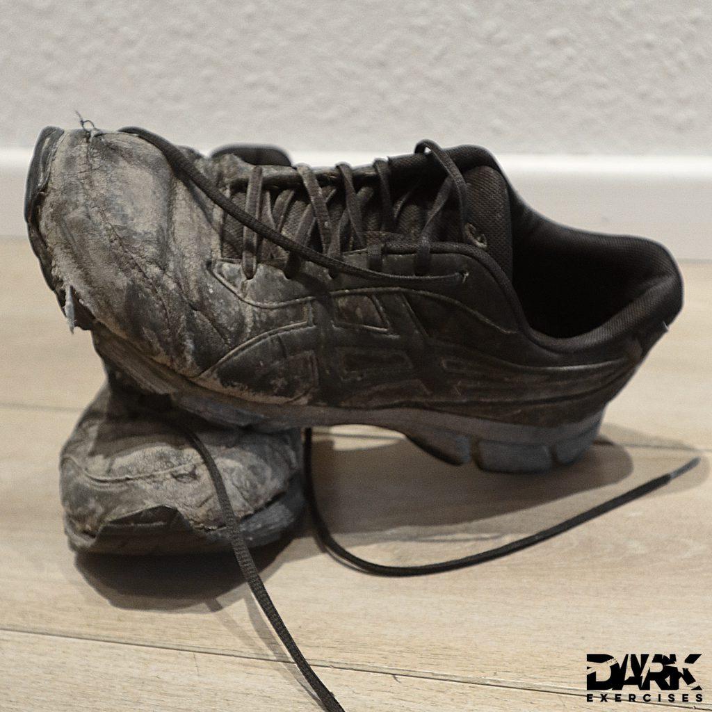 Running shoes after an interval run